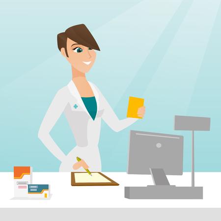 pill prescription: Pharmacist writing prescription.