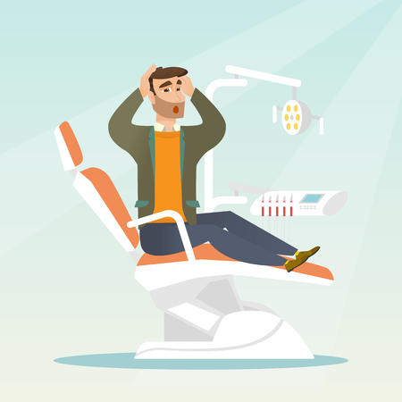 Afraid man sitting in the dental chair.