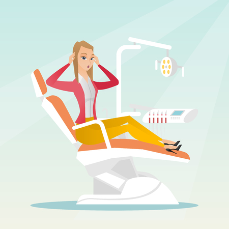Afraid woman sitting in the dental chair. Illustration
