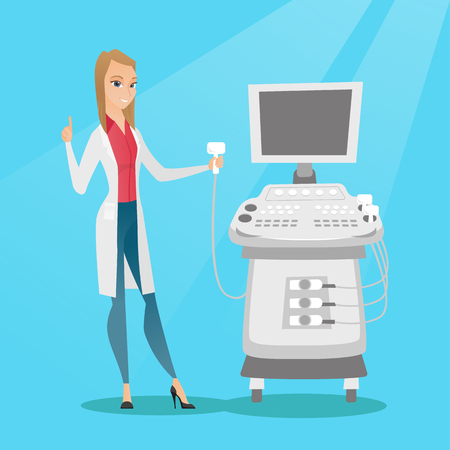 Young ultrasound doctor vector illustration. Illustration