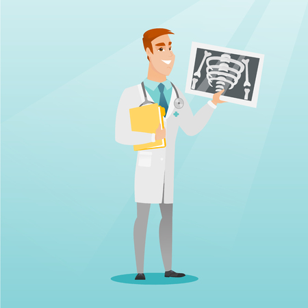 Doctor examining a radiograph vector illustration.