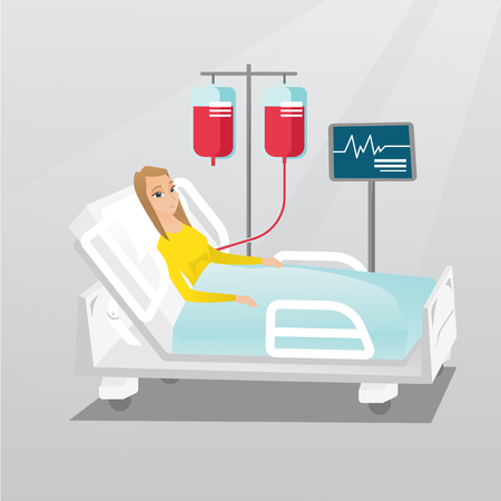 lying in: Man lying in hospital bed vector illustration.