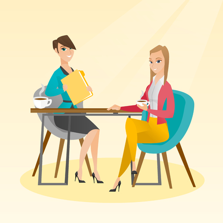 Businesswomen talking at a business meeting. Businesswomen drinking coffee at a business meeting. Two caucasian businesswomen during business meeting. Vector flat design illustration. Square layout.