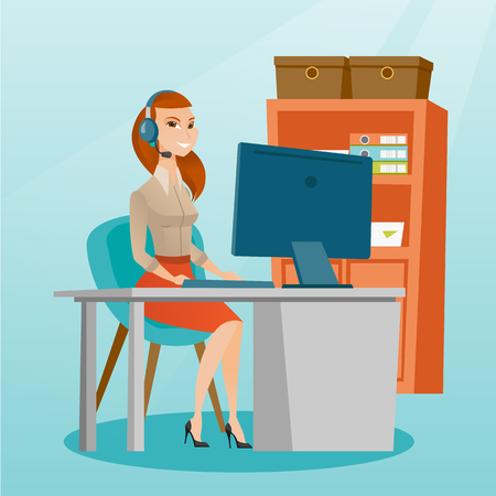 Business woman during video conference in the office. Business woman with headset working on a computer in the office. Call center operator at work. Vector flat design illustration. Square layout. Illustration