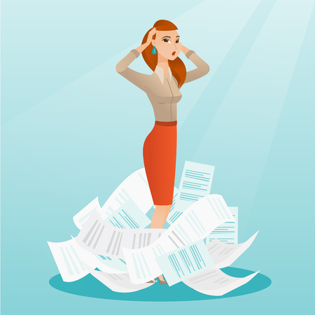 Overworked business woman having a lot of paperwork. Caucasian businesswoman surrounded by lots of papers. Businesswoman standing in the heap of papers. Vector flat design illustration. Square layout. Illustration