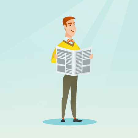 Young caucasian man reading a newspaper. Happy smiling man reading good news in a newspaper. Full length of a man standing with a newspaper in hands. Vector flat design illustration. Square layout.