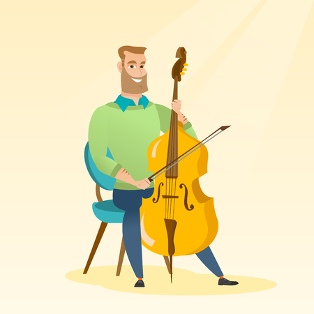 Young caucasian man sitting on a chair and playing the cello. Cellist playing classical music on the cello. Young hipster man with the cello and bow. Vector flat design illustration. Square layout.