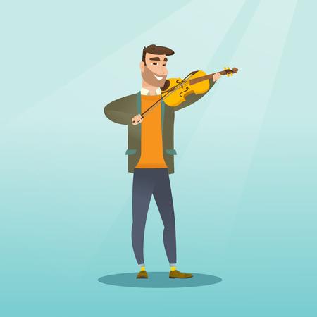 Jonge glimlachende man die de viool speelt. Violist die klassieke muziek op de viool speelt. Volledige lengte van een blanke man die met de viool in handen. Vector platte ontwerp illustratie. Vierkante lay-out.