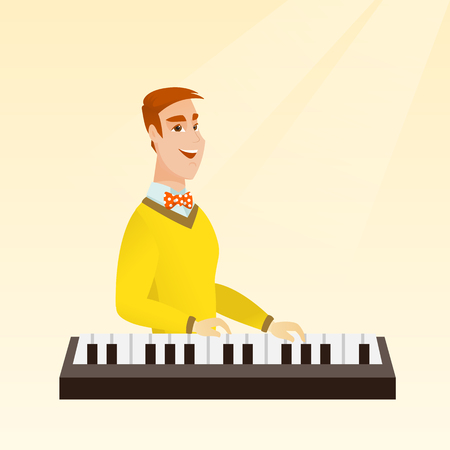 Young caucasian musician playing the piano. Smiling pianist playing the upright piano. Happy musician playing the synthesizer. Vector flat design illustration. Square layout. Illustration