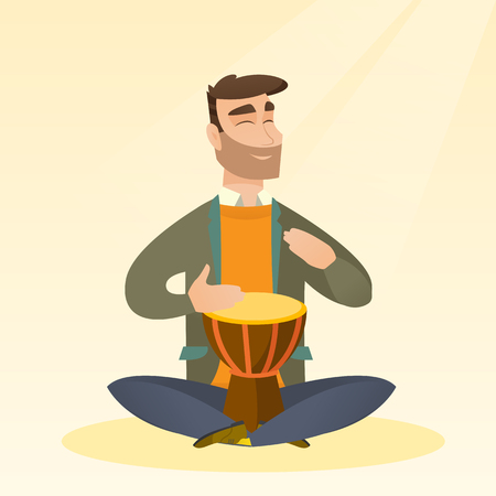 Man with closed eyes playing the ethnic drum. Caucasian mucisian playing the ethnic drum. Hipster man with beard playing ethnic music on the tom-tom. Vector flat design illustration. Square layout. Illusztráció