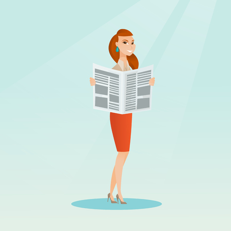 Cheerful caucasian woman reading a newspaper. Young woman reading good news in a newspaper. Full length of a woman standing with a newspaper in hands. Vector flat design illustration. Square layout. Illustration