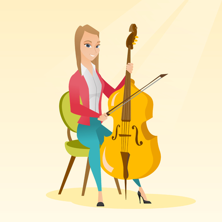 cellos: Young caucasian woman sitting on a chair and playing the cello. Cellist playing classical music on the cello. Young woman with the cello and bow. Vector flat design illustration. Square layout.