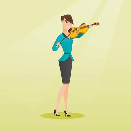 バイオリンを演奏若い女性。ヴァイオリニスト、ヴァイオリンでクラシック音楽の演奏します。手でバイオリンと立っている白人女性の完全な長さ