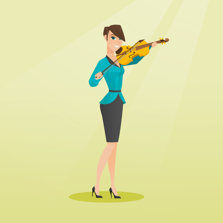 Young woman playing the violin. Violinist playing classical music on the violin. Full length of a caucasian woman standing with the violin in hands. Vector flat design illustration. Square layout.