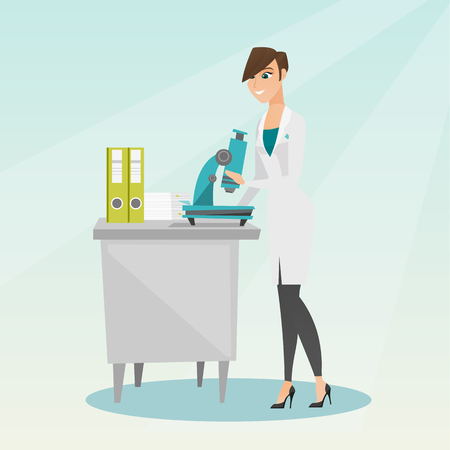 Caucasian laboratory assistant working with a microscope. Young female scientist working in the laboratory. Laboratory assistant using a microscope. Vector flat design illustration. Square layout. Illustration