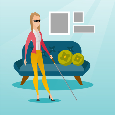 Caucasian blind woman standing with a walking stick. Young blind woman wearing dark glasses and standing with a cane. Blind woman walking with a stick. Vector flat design illustration. Square layout.