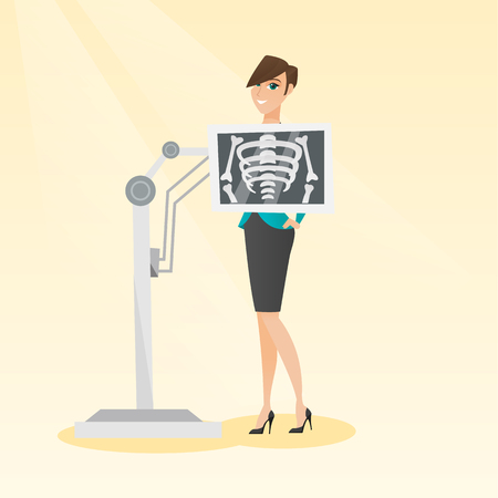 Young caucasian woman during chest x ray procedure. Smiling woman with a x ray screen showing skeleton. Happy female patient visiting a roentgenologist. Vector flat design illustration. Square layout. Illustration