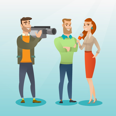Professional caucasian reporter with a microphone presenting news. Operator filming an interview. Journalist making an interview with a businessman. Vector flat design illustration. Square layout. Stock Vector - 79077466