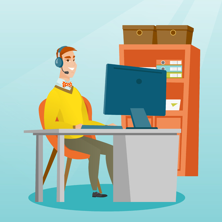 Caucasian businessman during video conference in the office. Businessman with headset working on a computer in the office. Call center operator at work. Vector flat design illustration. Square layout.