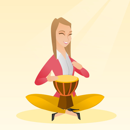 Woman with closed eyes playing the ethnic drum. Caucasian mucisian playing the ethnic drum. Young mucisian playing ethnic music on the tom-tom. Vector flat design illustration. Square layout.