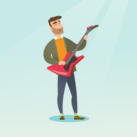 Young musician playing the electric guitar. Hipster man with beard practicing in playing the guitar. Guitarist with closed eyes playing the guitar. Vector flat design illustration. Square layout. 向量圖像