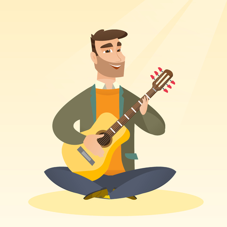Caucasian musician sitting with the guitar in hands. Hipster man with beard playing the acoustic guitar. Guitarist practicing in playing the guitar. Vector flat design illustration. Square layout.