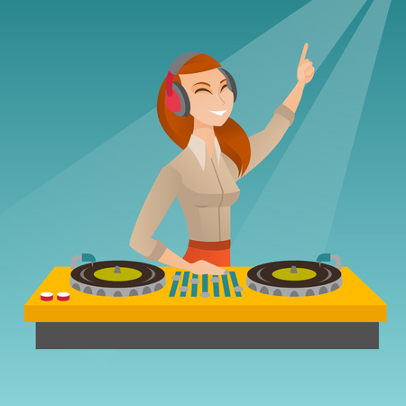 Young hipster DJ with beard mixing music on the turntables. DJ playing and mixing music on the deck. Caucasian DJ in headphones mixing music at a party. Vector flat design illustration. Square layout.