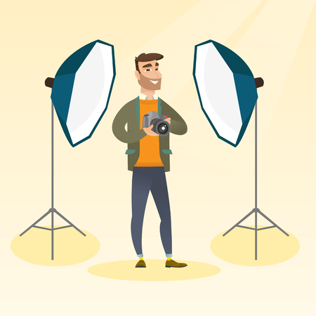 Hipster photographer with beard holding a camera in a photo studio. Photographer using a professional camera in a studio. Young man taking a photo. Vector flat design illustration. Square layout.