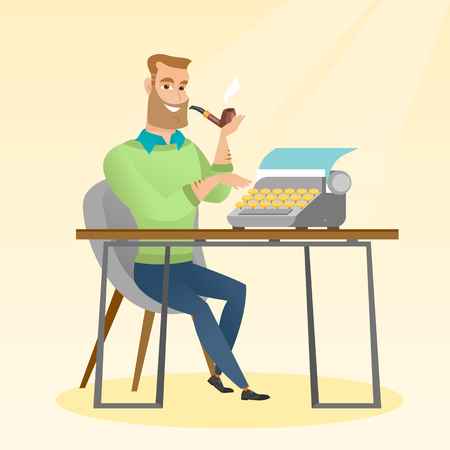 Journalist writing an article on a vintage typewriter. Journalist working on a retro typewriter. Journalist smoking a pipe during writing an article. Vector flat design illustration. Square layout.