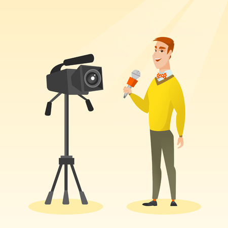 Caucasian reporter standing with a microphone on the background of a camera. Young smiling TV reporter presenting news. TV transmission with a reporter. Vector flat design illustration. Square layout. Illustration