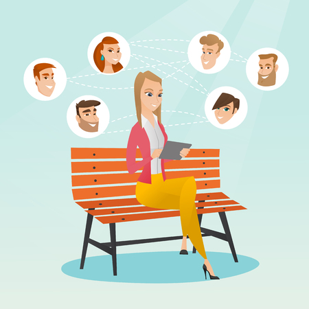 Young woman sitting on a bench and using a tablet computer with network avatar icons above. Woman surfing in the social network. Social network concept. Vector flat design illustration. Square layout. Illustration