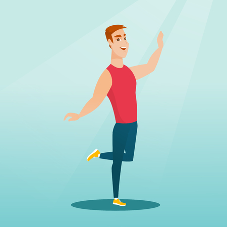 Cheerful young man dancing with passion. Full length portrait of a happy caucasian man dancing. Smiling man during dance workout. Vector flat design illustration. Square layout.