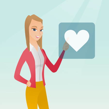 Young woman pressing button with heart. Caucasian woman pressing heart shaped button of social network. Concept of social network and communication. Vector flat design illustration. Square layout.