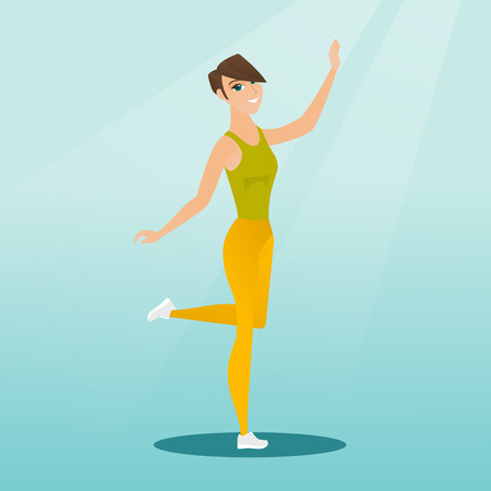 Cheerful young woman dancing with passion. Full length portrait of a happy caucasian woman dancing. Smiling woman during dance workout. Vector flat design illustration. Square layout.