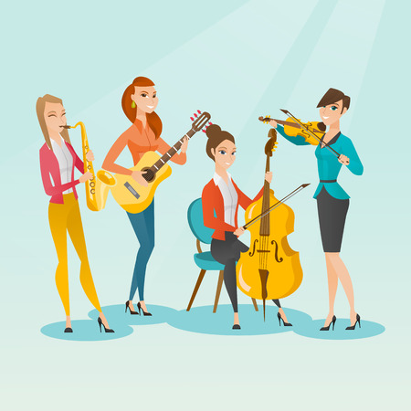 Band of musicians playing musical instruments. Group of young musicians playing musical instruments. Band of musicians performing with instruments. Vector flat design illustration. Square layout. Ilustrace