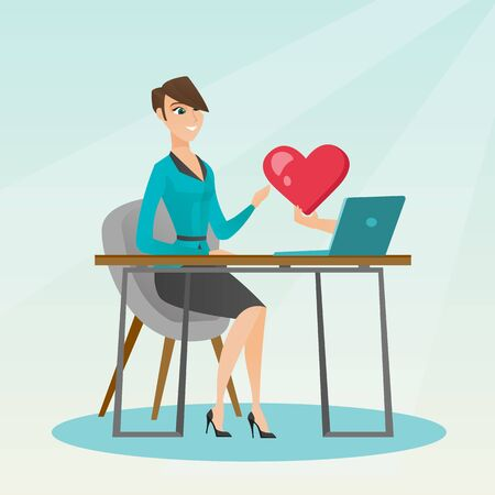 using laptop: Caucasian woman looking for online date on the internet. Woman using a laptop and dating online. Woman dating online and getting a virtual love message. Vector flat design illustration. Square layout.