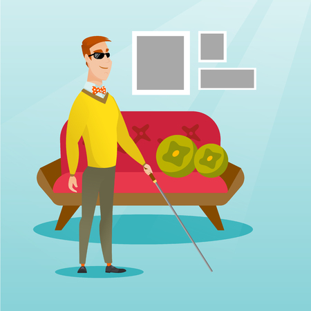 Blind man with a stick vector illustration.