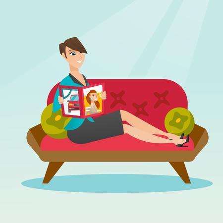 Woman reading magazine on sofa vector illustration