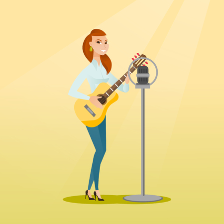 Woman singing into a microphone.