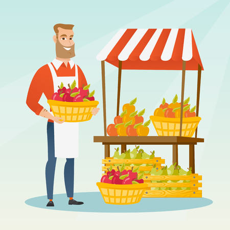 Jonge groenteboer die zich dichtbij de box met groenten en fruit. Groenteboer die zich dichtbij de marktkraam bevindt. Groentehandelaar mand met fruit te houden. Vector platte ontwerp illustratie. Vierkante lay-out