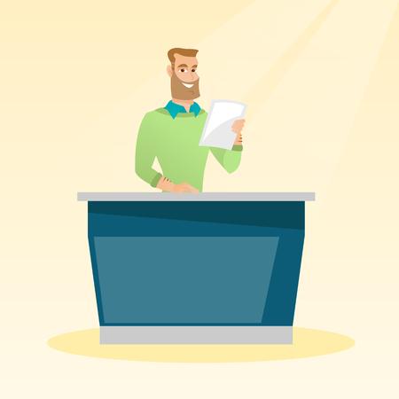 Television anchorman in the studio. Ilustração