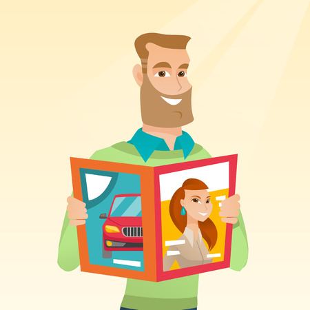Man reading a magazine illustration.