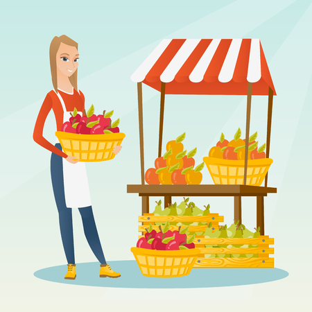 Greengrocer standing near the stall with fruits and vegetables. Greengrocer standing near the market stall. Greengrocer holding basket with fruits. Vector flat design illustration. Square layout. Illustration