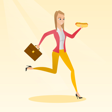 Caucasian business woman eating hot dog in a hurry. Business woman eating on the run. Young business woman running with briefcase and eating hot dog. Vector flat design illustration. Square layout.