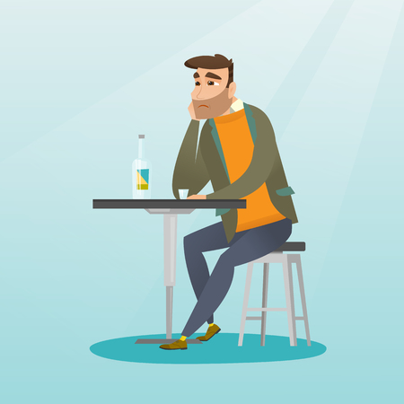 Caucasian man sitting in the bar and drinking a cocktail. Young sad man sitting alone in the bar with a cocktail. Man drinking a cocktail in the bar. Vector flat design illustration. Square layout. Illustration