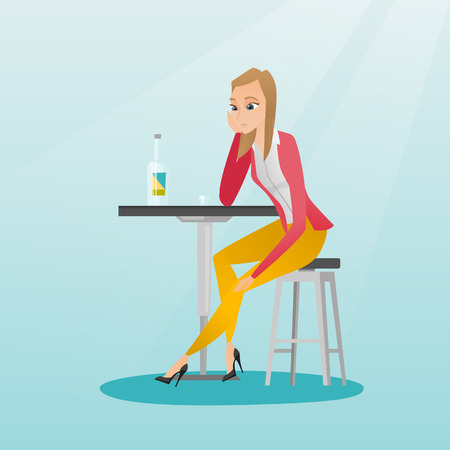 Caucasian woman sitting in the bar and drinking a cocktail. Young sad woman sitting in the bar with a cocktail. Woman drinking a cocktail in the bar. Vector flat design illustration. Square layout. Illustration