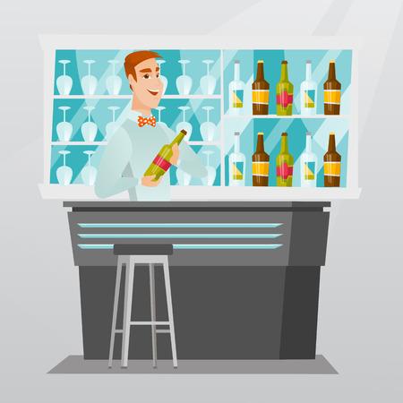 Jeune barman caucasien debout au comptoir avec une bouteille de boisson alcoolisée. Barman gai tenant une bouteille de boisson alcoolisée dans les mains. Illustration vectorielle de design plat. Disposition carrée. Banque d'images - 79088234