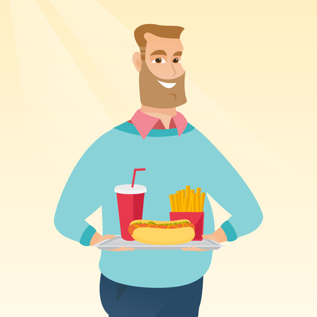 take out: Caucasian man holding a tray with fast food. Young man having lunch in a fast food restaurant. Happy man with fast food. Unhealthy nutrition concept. Vector flat design illustration. Square layout.