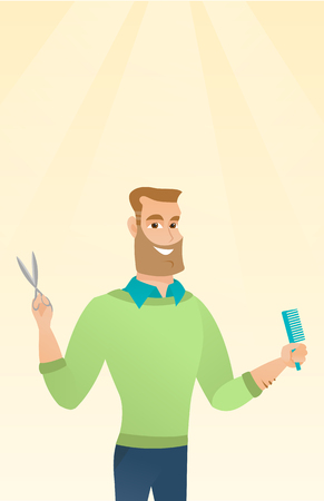 Full length of young smiling hipster barber with the beard holding comb and scissors in hands. Professional caucasian barber ready to do a haircut. Vector flat design illustration. Vertical layout.
