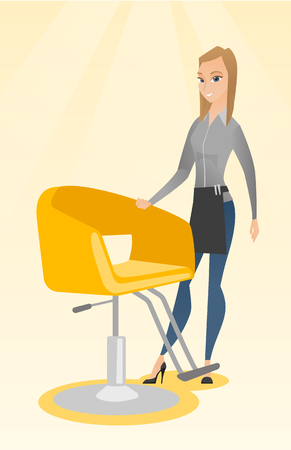Young caucasian hairdresser standing near armchair. Full length of professional hairdresser standing at workplace. Friendly hairdresser at work. Vector flat design illustration. Vertical layout.